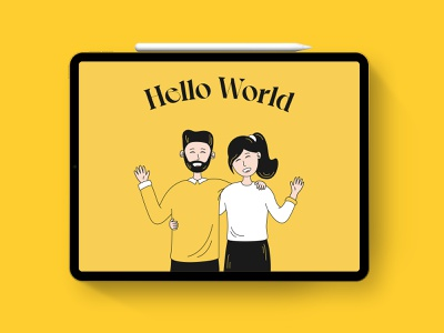 Hello World hello heart ornerdesignstudio first post first shot welcome shot welcome new couple illustration dribbble invite helloworld illustrator website flat minimal web vector branding design illustration