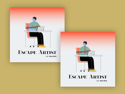 Escape Artist Podcast Cover Concept 16 office album cover design album artwork album cover album art album podcast logo podcasts podcast art podcasting podcast illustration simple flat