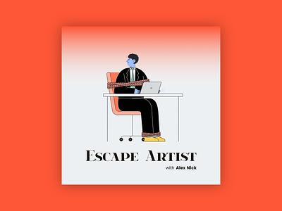 Escape Artist Podcast Cover Concept 18 design branding illustration simple flat desk album cover design album artwork album cover album art album podcast logo podcasts podcast art podcasting podcast