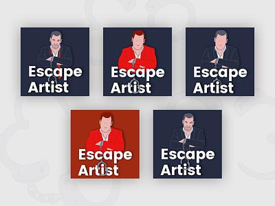 Escape Artist Podcast Cover Concept 23 portfolio podcast art podcasts podcasting podcast logo podcast branding design illustration fun simple flat