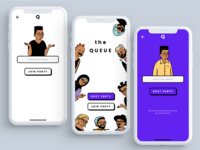 The Queue V1 mobile app mobile app design mobile design mobile ui mobile concept branding design illustration simple flat