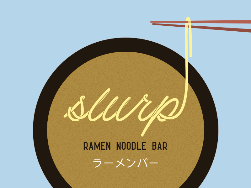 Slurp Ramen Noodle Bar simple flat typography illustration vector branding fun logo concept