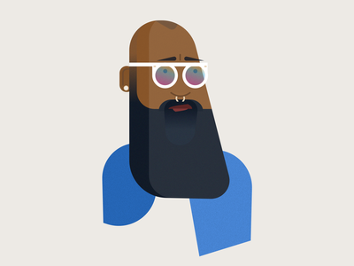 Black Beard portrait urban persona vevtor gasses sunglasses hippo hipster character fun illustration flat