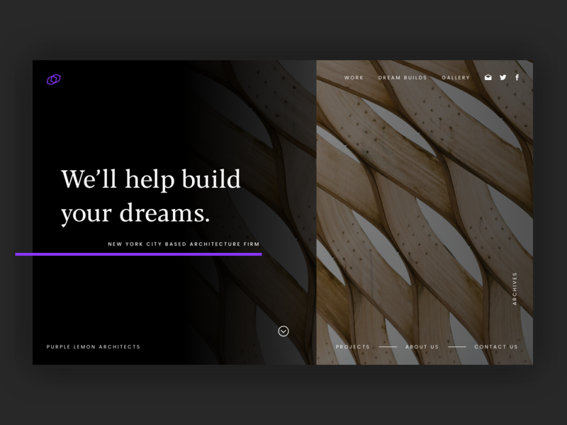 Purple Lemon Architects Landing Page Concept