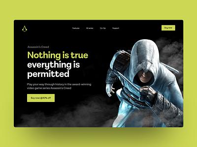 Hero Section Web Design Assassin's Creed ux design icon vector app typography illustration icon design gaming ubisoft games web design animation branding 3d logo motion graphics graphic design ui
