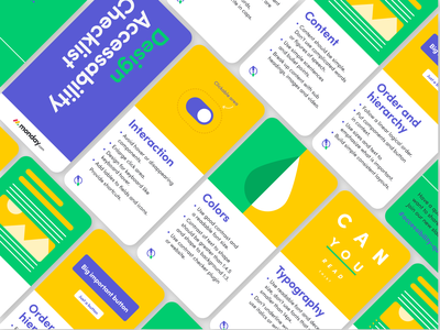 Accessibility Checklist Cards ui ux vector branding print typography design