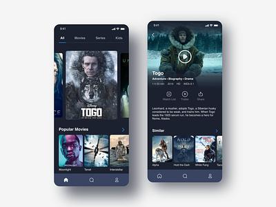 Movie and TV Show App mobile app design mobile ui mobile app tv series series design ui ux movies tv shows tv app disney app movie app movie