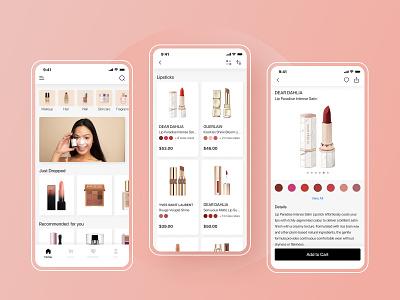 Beauty App ux pink ui app mobile ui mobile app design cosmetics cosmetic app design online shop lipstick ecommerce beauty app cosmetics app shopping shop sephora beauty