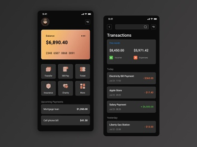 Finance / Mobile Banking App banking app transaction ux money transfer transactions wallet payment pay ui mobile app mobile ui app ui bank banking financial finance financial app bank app bank card fintech