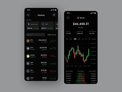 Cryptocurrency / Crypto Trading App dark portfolio trading crypto app trading app chart currency cryptocurrency trade graph exchange ui app wallet finance financial crypto exchange crypto nft bitcoin