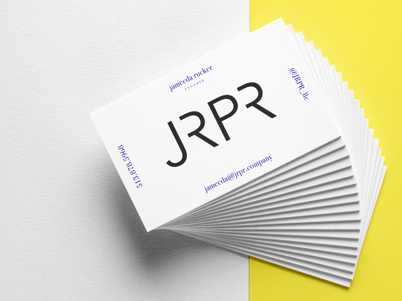 Jrpr public relations company logo business card by alex biz card colourmoves