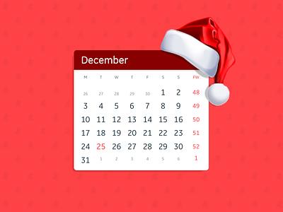 DailyUI - 038 - Calendar week christmas holiday date calendar ui dailyui