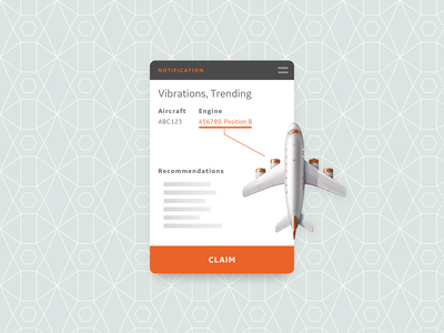 DailyUI - 046 - Invoice diagnostics airplane ticket invoice claim mechanics maintenance notification ux ui aviation dailyui
