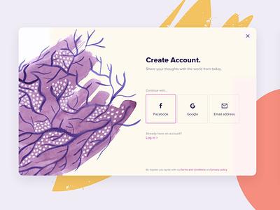 Sign Up design app mobile design web modal create account login signup form design popup