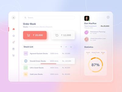 Banking web application order management bank app finance color uxui design webdesign design app uxui uxdesign ui design webapp uxuidesign web app ux design