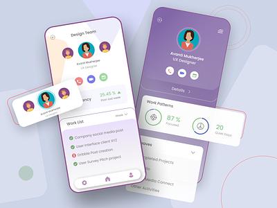 Employee App uxuidesign designs employee figmadesign workplace details employee engagement productivity app uxui ui design ux ui design app design app