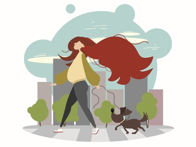 Walking in the city. Flat design urban people illustration illustration flat vector