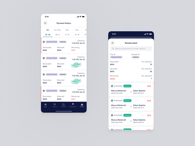 Driver App - Payment History figma payment driver shipper shipper app driver app ui ux logistic delivery shipping