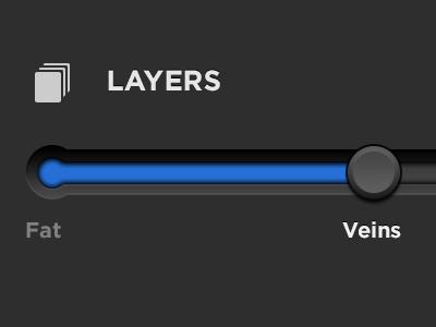 Real Pixels on the slider slider ui ios ipad interface blue