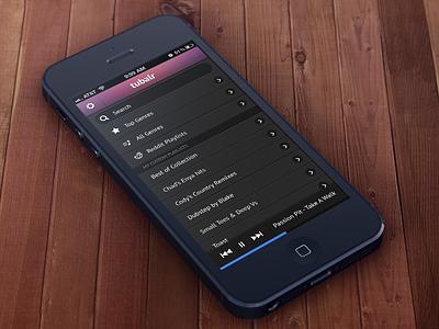 Tubalr Home Screen iu ios iphone music tubalr app player list ui design ios design iphone design photoshop