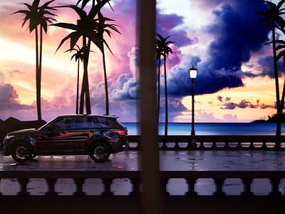 Sunrise Boulevard sunrise c4d aftereffects cinema4dart florida palm ambience roadtrip drive car sunset boulevard beach rangerover coronarender corona cinema4d