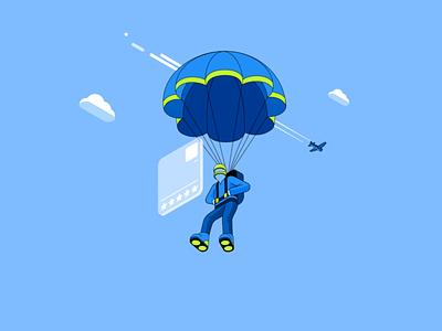 Robinhood Investing - Parachute socialmedia robinhood isometric lineart loop gif character illustration flat animation 2d