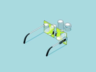 Robinhood Investing - Glasses robinhood finance money future lineart isometric glasses cinema4d gif loop flat 2d animation