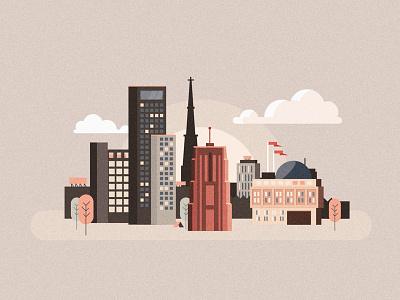 Skyline Leeuwarden skyscrapers greyscale animation flat illustration building city skyline leeuwarden
