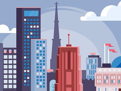 Skyline skyscrapers greyscale animation flat illustration building city skyline leeuwarden