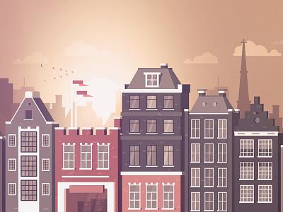 Amsterdam canals buildings horizon flat skyline illustration nederland netherlands holland amsterdam