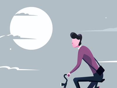 Cyclist Concept 2d animation sky hipster illustration bike cycle cyclist
