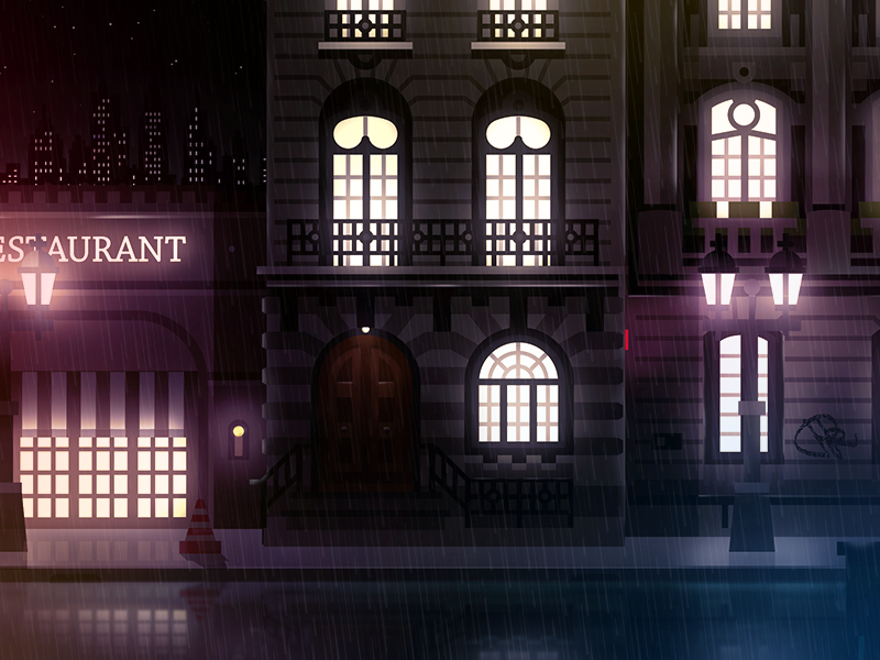 European street by night