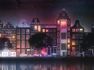 Streets of Amsterdam city illustration illustrator cinema4d holland dutch skyline city streets street amsterdam