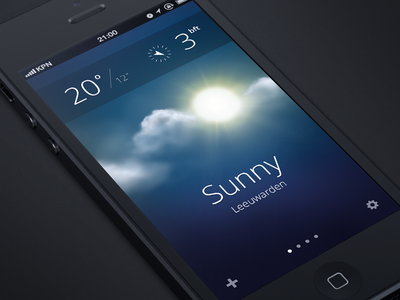 Weather App weather app iphone5 ios ui design sun clouds iphone apple weer zon wolken