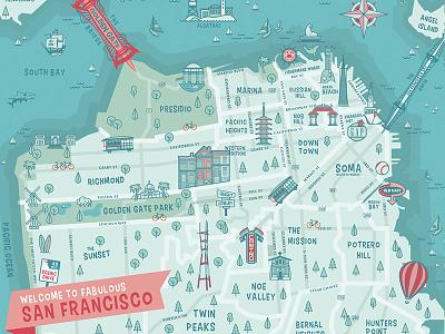 Map of San Francisco san francisco map illustration icons old navy bay area city map city branding