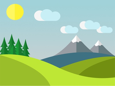 Simple Illustration material design forest sea mount weather flat illustration