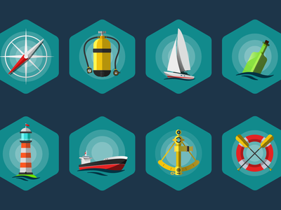 Sea Icon set FREE eps sea illustration freebie free mobile app flat icon