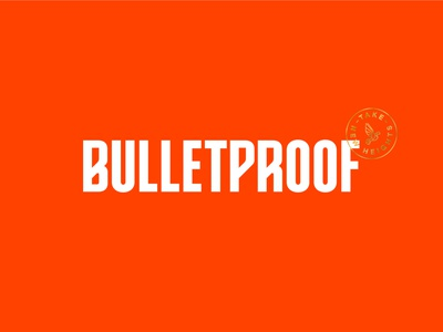 Bulletproof - Logo Concept gold icon type confidence packaging food logo