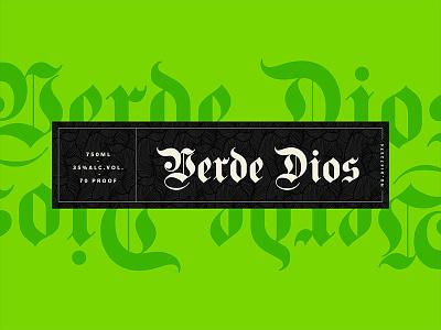 Verde Dios - Label liqour alcohol verde green gods patron