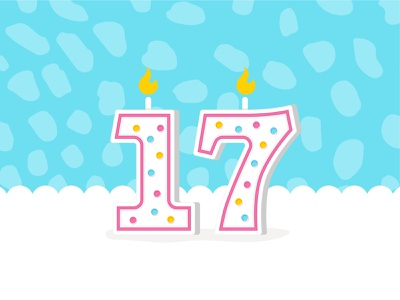 Happy 17th illustration book numbers birthday cake candle