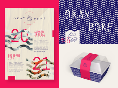 Okay Poke Collateral packaging design poster design typography icon art logo branding vector minimal illustrator graphic design design