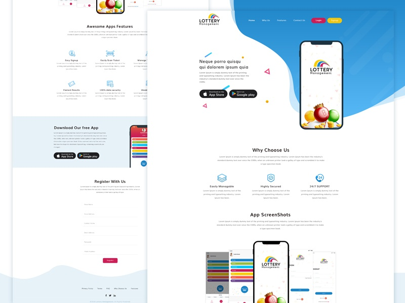 Lottery Management - Mobile App Landing Page by Sandip