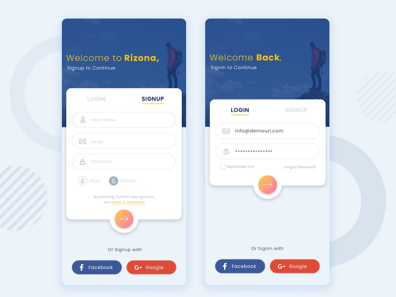 Login Signup by Sandip Godhaniya  on Dribbble