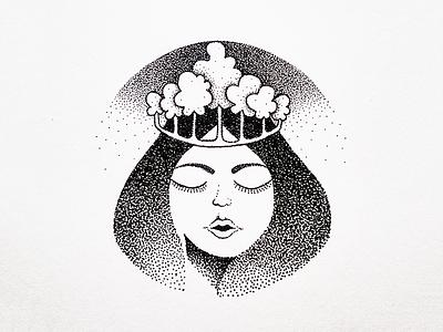 Forest Queen drawing ink art fineart illustration dotart dotwork crown woman queen forest