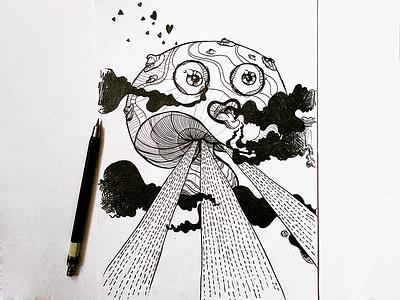 Euphoria lineart design character illustration cartoon drawing doodle sketch mushroom euphoria