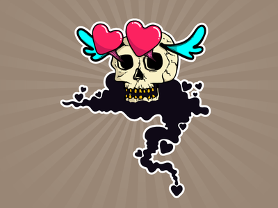 Love skull graphic design digital painting character design comic cartoon illustration skull love
