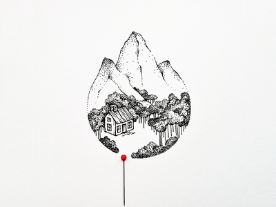 Pin this to my wishlist location pin ink illustration forest fineart drawing dotwork dotart cabin mountains art
