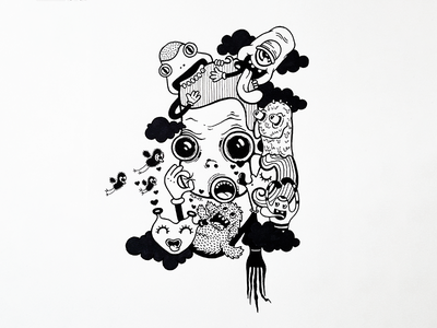 Magnet line work ink art drawing t-shirt cartoon character design illustration monsters magnet