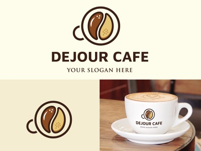 Coffee Brand Logo, Dejour cafe Logo Design, Coffee Shop logo. vector design logo illustration branding graphic design consulting logo business logo company logo