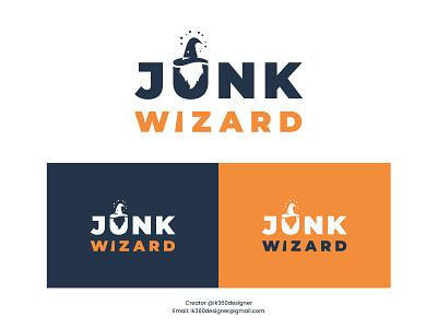 Junk Wizard Logo Design || Company Logo Design creative design typography logo minimalist logo corrporate design branding graphic design logo business logo learn logo design junk logo design magic wizard cap wizard logo junk wizard company logo